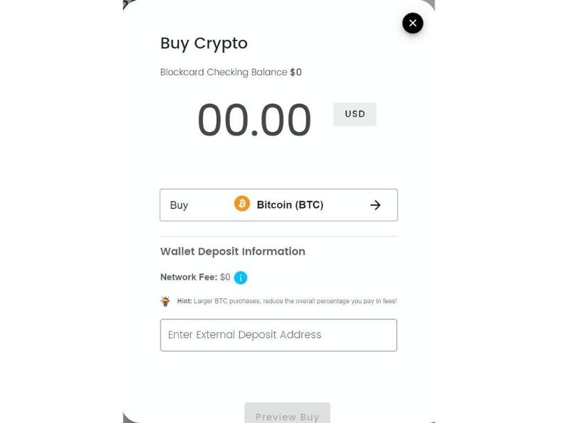 Buy Crypto screen shot.