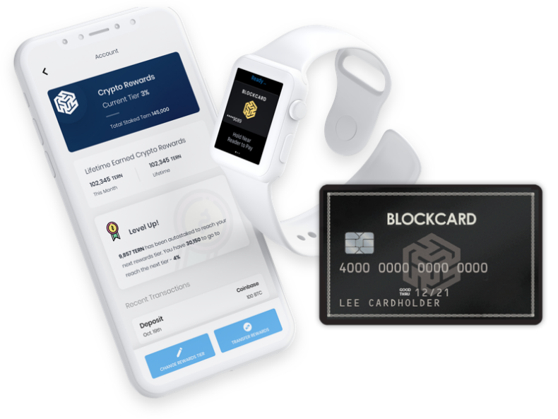 Blockcard app displayed on a phone and watch.