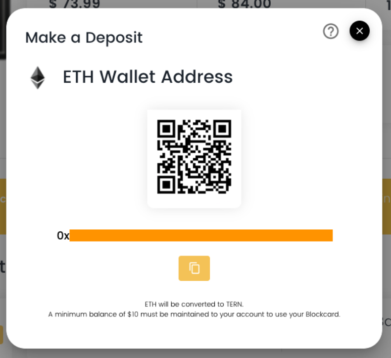ETH wallet address screen shot.