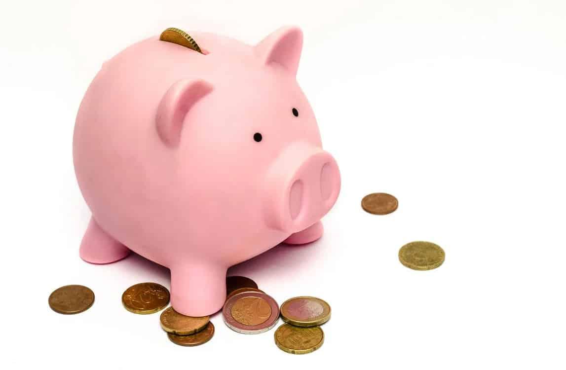 Coins and a piggy bank.