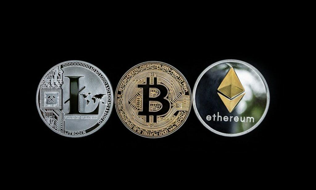 Bitcoin, Litecoin, and Ethereum